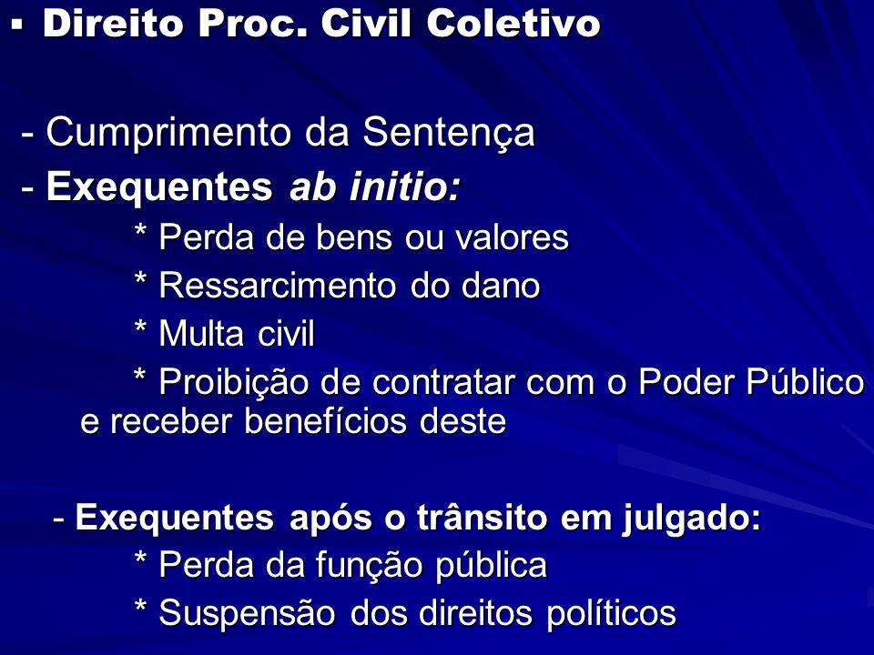  Direito Proc. Civil Coletivo - Cumprimento da Sentença - Cumprimento da Sentença - Exequentes ab initio: - Exequentes ab initio: * Perda de bens ou