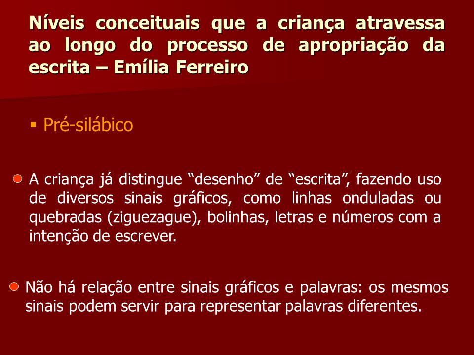 """Níveis conceituais que a criança atravessa ao longo do processo de apropriação da escrita – Emília Ferreiro  Pré-silábico A criança já distingue """"des"""