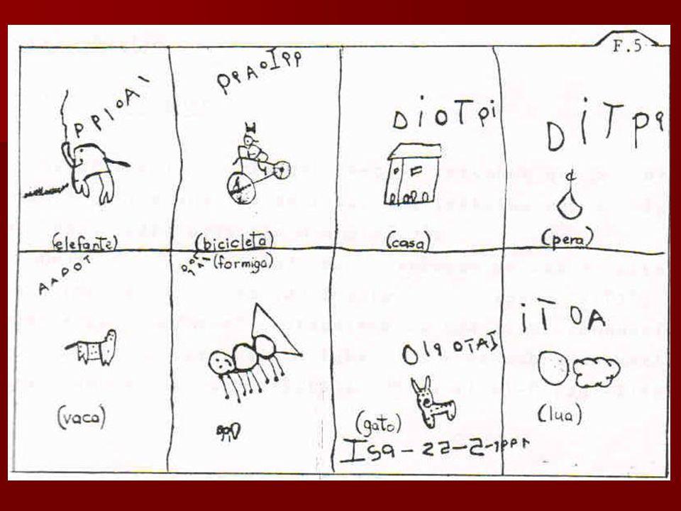 A criança passa a utilizar formas gráficas bem mais próximas de letras convencionais.