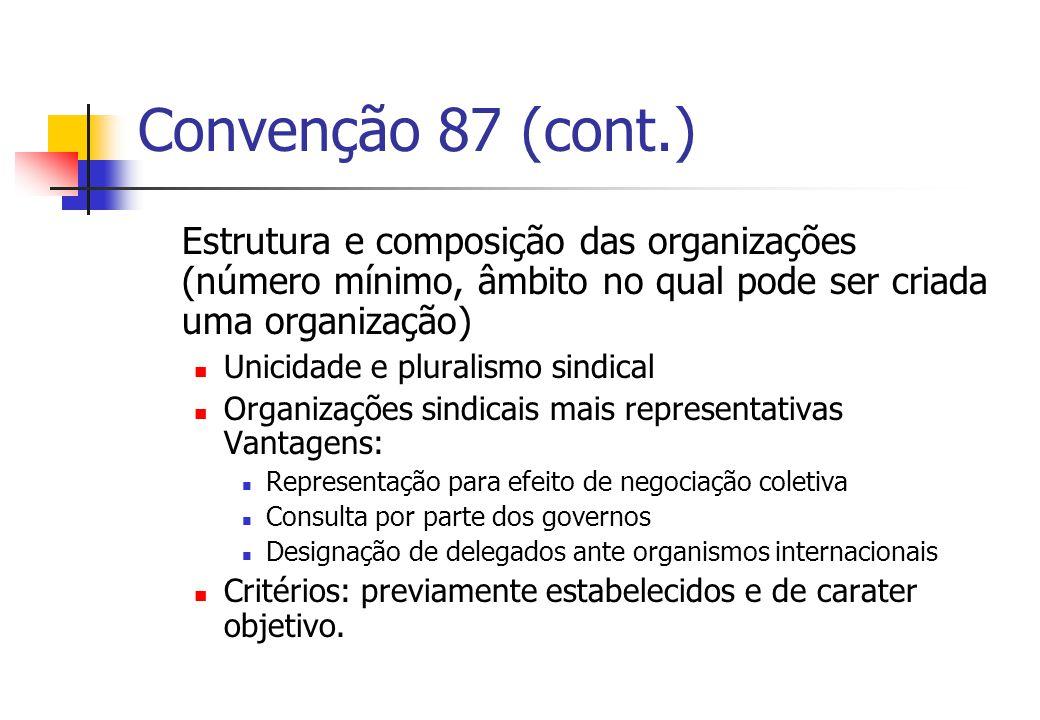 Convenção 87 (cont.) Estrutura e composição das organizações (número mínimo, âmbito no qual pode ser criada uma organização) Unicidade e pluralismo si