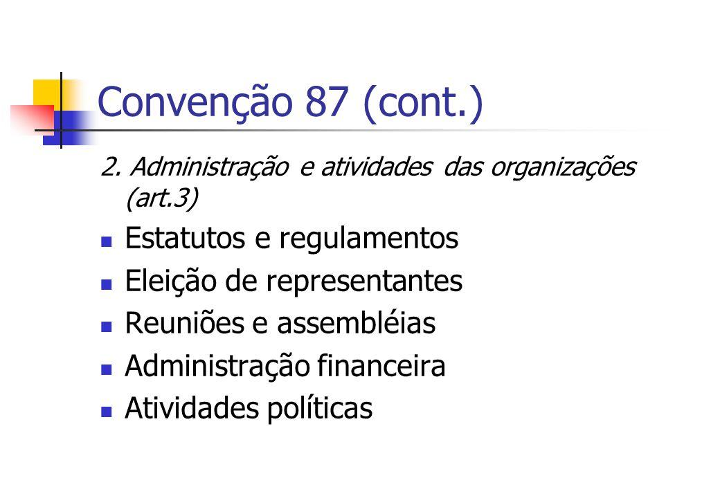 Convenção 87 (cont.) 2. Administração e atividades das organizações (art.3) Estatutos e regulamentos Eleição de representantes Reuniões e assembléias