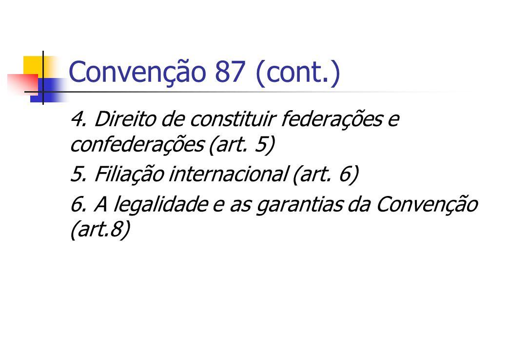 Convenção 87 (cont.) 4. Direito de constituir federações e confederações (art. 5) 5. Filiação internacional (art. 6) 6. A legalidade e as garantias da