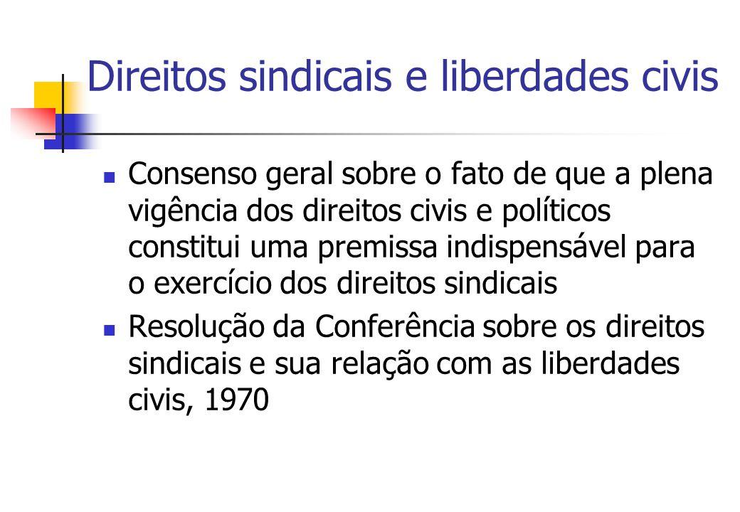 Direitos sindicais e liberdades civis (cont.) Conforme a Resolução de 1970, os direitos fundamentais indispensáveis para o exercício da liberdade sindical são: direito à liberdade e à segurança pessoal; liberdade de opinião e de expressão; direito de reunião; direito a um processo regular por tribunais independentes e imparciais; direito à proteção da propriedade.