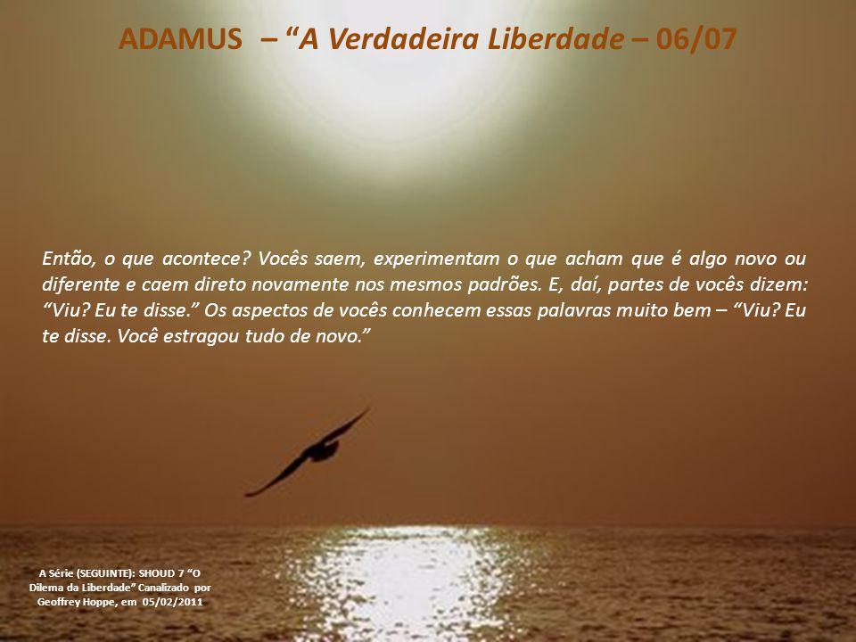 ADAMUS – A Verdadeira Liberdade – 06/07 A Série (SEGUINTE): SHOUD 7 O Dilema da Liberdade Canalizado por Geoffrey Hoppe, em 05/02/2011 Então, o que acontece.