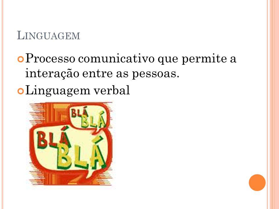 Processo comunicativo que permite a interação entre as pessoas. Linguagem verbal