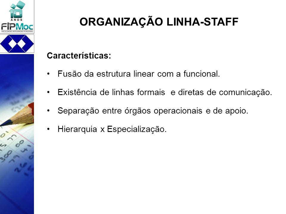 ORGANIZAÇÃO LINHA-STAFF Características: Fusão da estrutura linear com a funcional. Existência de linhas formais e diretas de comunicação. Separação e