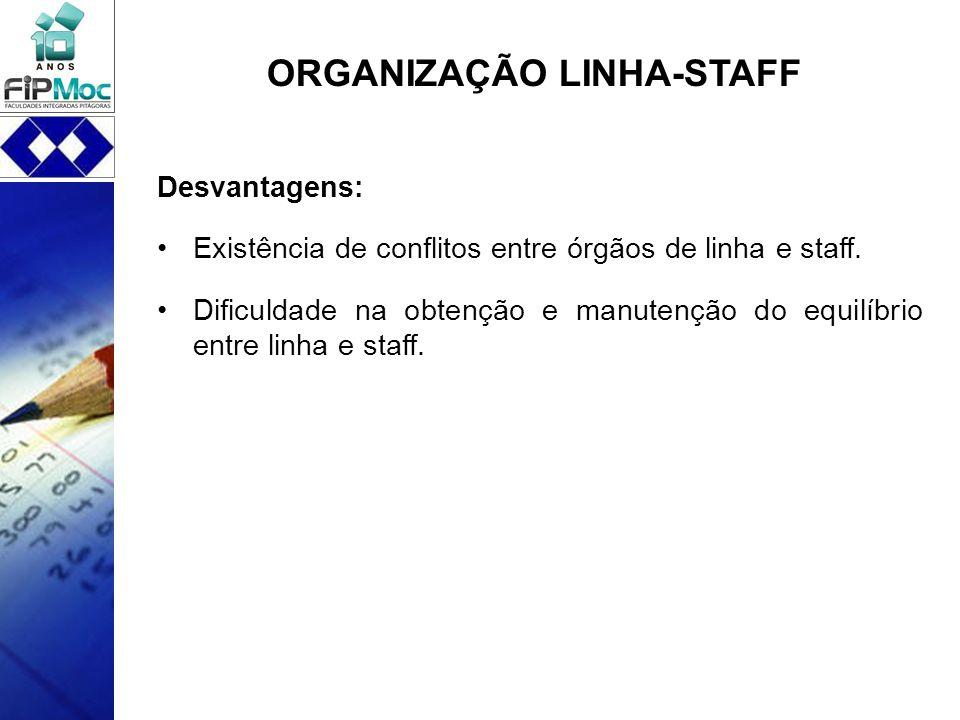 ORGANIZAÇÃO LINHA-STAFF Desvantagens: Existência de conflitos entre órgãos de linha e staff. Dificuldade na obtenção e manutenção do equilíbrio entre