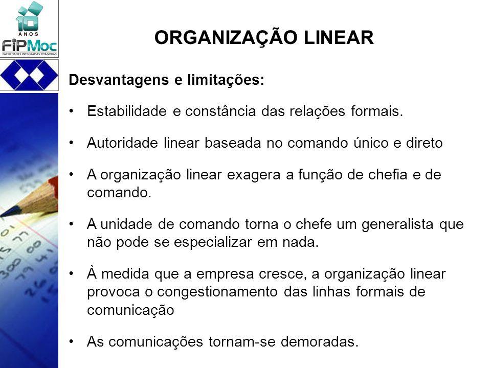 Desvantagens e limitações: Estabilidade e constância das relações formais. Autoridade linear baseada no comando único e direto A organização linear ex