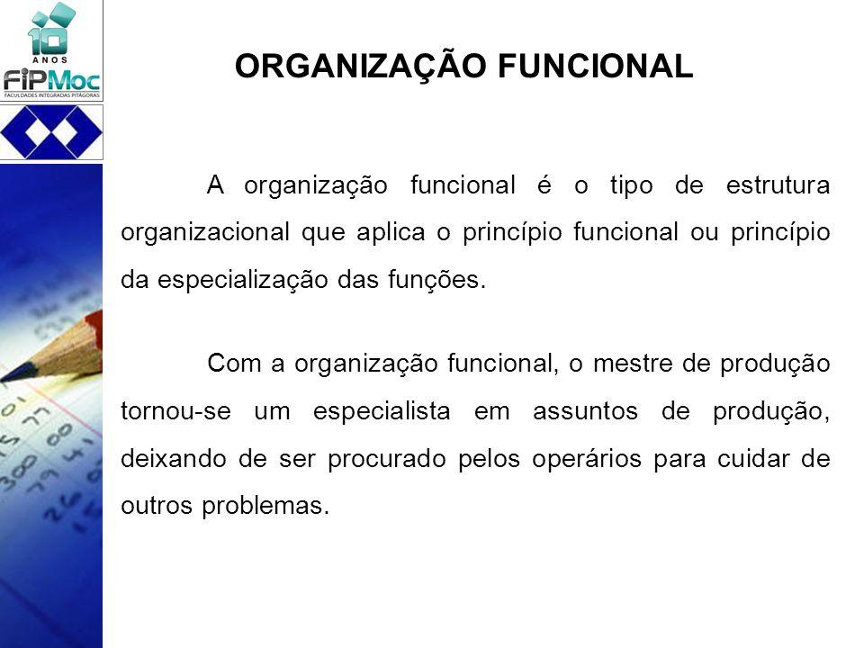 A organização funcional é o tipo de estrutura organizacional que aplica o princípio funcional ou princípio da especialização das funções. Com a organi