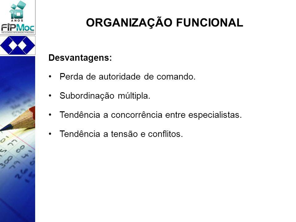 ORGANIZAÇÃO FUNCIONAL Desvantagens: Perda de autoridade de comando. Subordinação múltipla. Tendência a concorrência entre especialistas. Tendência a t