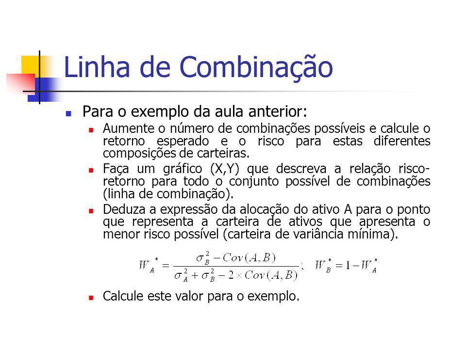 Linha de Combinação Para o exemplo da aula anterior: Aumente o número de combinações possíveis e calcule o retorno esperado e o risco para estas difer