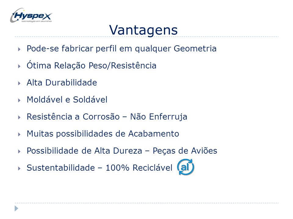 Vantagens  Pode-se fabricar perfil em qualquer Geometria  Ótima Relação Peso/Resistência  Alta Durabilidade  Moldável e Soldável  Resistência a C