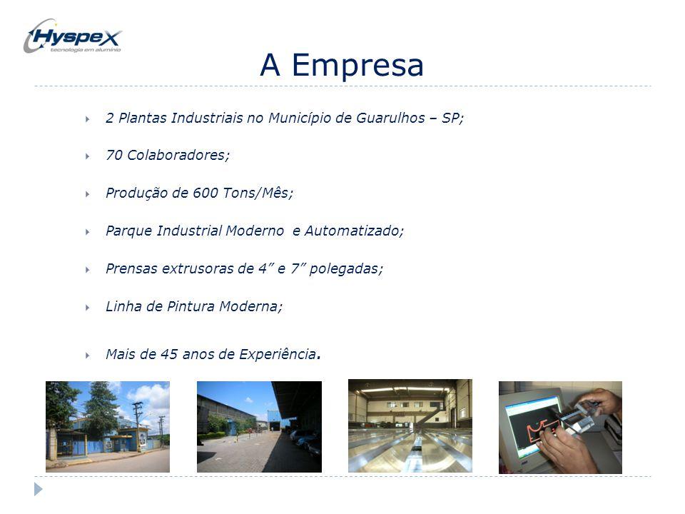 A Empresa  2 Plantas Industriais no Município de Guarulhos – SP;  70 Colaboradores;  Produção de 600 Tons/Mês;  Parque Industrial Moderno e Automa