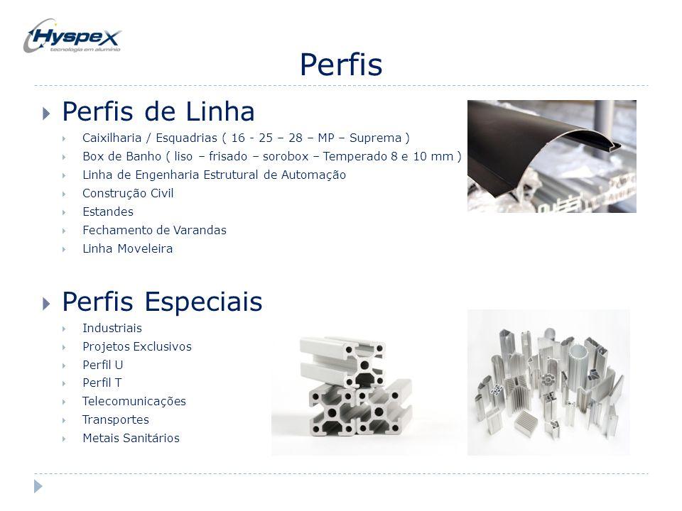 Perfis  Perfis de Linha  Caixilharia / Esquadrias ( 16 - 25 – 28 – MP – Suprema )  Box de Banho ( liso – frisado – sorobox – Temperado 8 e 10 mm )
