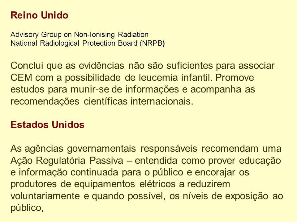 Reino Unido Advisory Group on Non-Ionising Radiation National Radiological Protection Board (NRPB) Conclui que as evidências não são suficientes para associar CEM com a possibilidade de leucemia infantil.