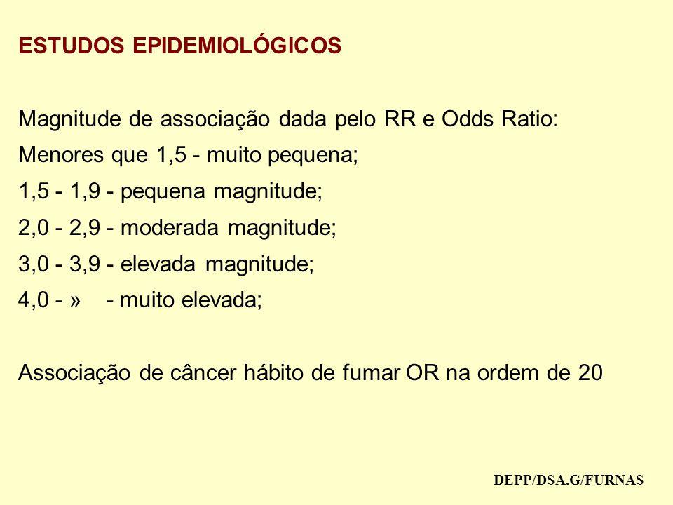 ESTUDOS EPIDEMIOLÓGICOS Magnitude de associação dada pelo RR e Odds Ratio: Menores que 1,5 - muito pequena; 1,5 - 1,9 - pequena magnitude; 2,0 - 2,9 - moderada magnitude; 3,0 - 3,9 - elevada magnitude; 4,0 - » - muito elevada; Associação de câncer hábito de fumar OR na ordem de 20 DEPP/DSA.G/FURNAS