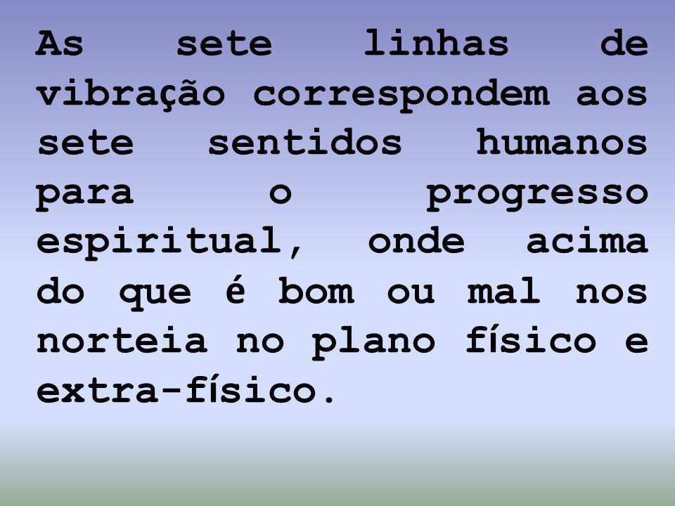 As sete linhas de vibra ç ão correspondem aos sete sentidos humanos para o progresso espiritual, onde acima do que é bom ou mal nos norteia no plano f