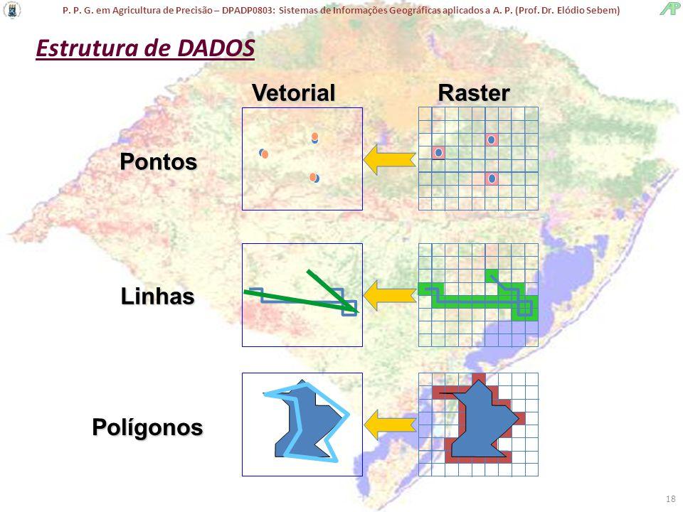 P. P. G. em Agricultura de Precisão – DPADP0803: Sistemas de Informações Geográficas aplicados a A. P. (Prof. Dr. Elódio Sebem) 18 Linhas Polígonos Ra