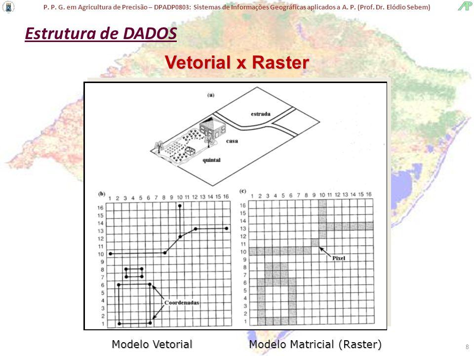 P. P. G. em Agricultura de Precisão – DPADP0803: Sistemas de Informações Geográficas aplicados a A. P. (Prof. Dr. Elódio Sebem) 8 Vetorial x Raster Mo