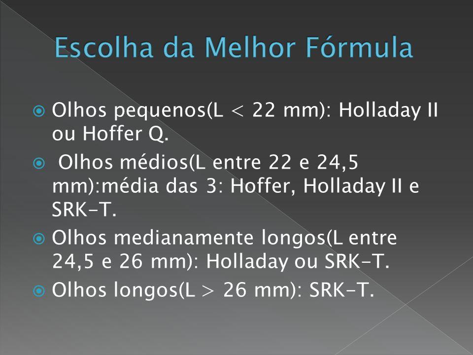  Alta Miopia - L ≥ 27 mm - Cuidados: localização da mácula na presença de estafiloma.