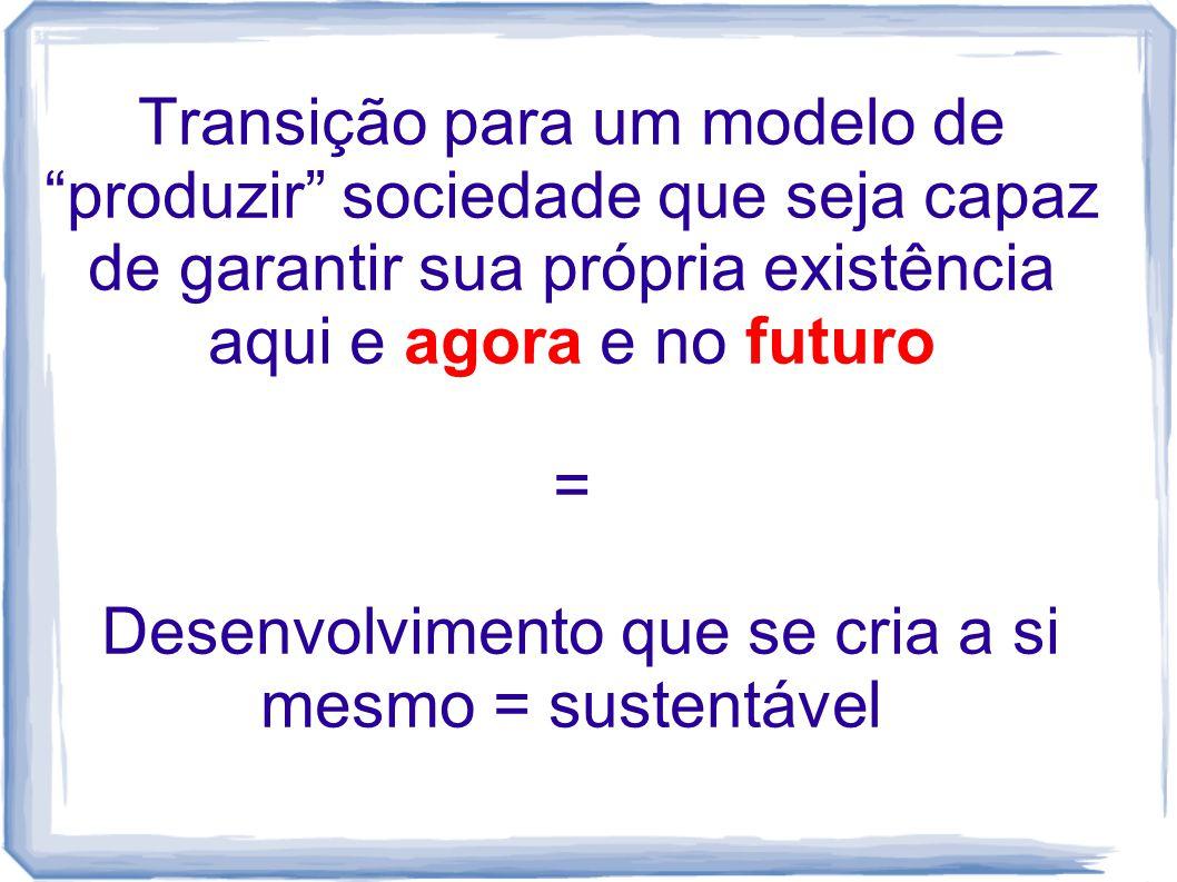 """Transição para um modelo de """"produzir"""" sociedade que seja capaz de garantir sua própria existência aqui e agora e no futuro = Desenvolvimento que se c"""