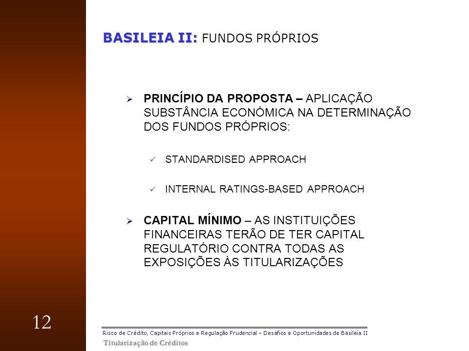 12 Titularização de Créditos Risco de Crédito, Capitais Próprios e Regulação Prudencial – Desafios e Oportunidades de Basileia II BASILEIA II: BASILEI
