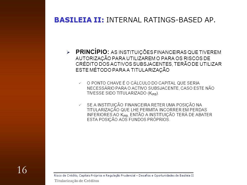 16 Titularização de Créditos Risco de Crédito, Capitais Próprios e Regulação Prudencial – Desafios e Oportunidades de Basileia II BASILEIA II: BASILEI