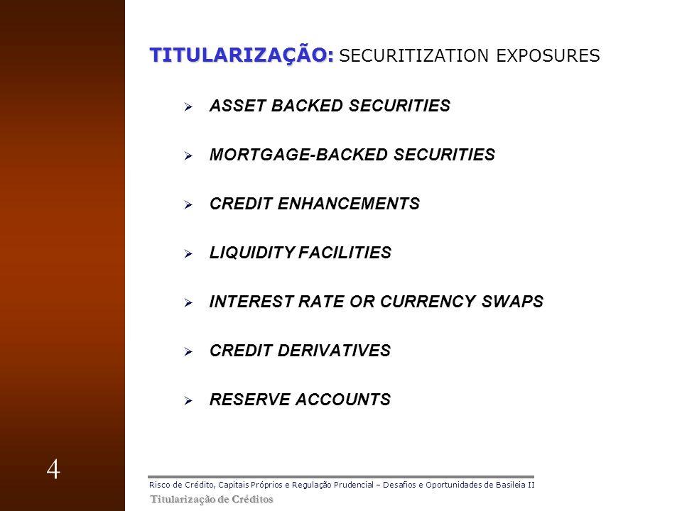 4 Titularização de Créditos Risco de Crédito, Capitais Próprios e Regulação Prudencial – Desafios e Oportunidades de Basileia II TITULARIZAÇÃO: TITULA