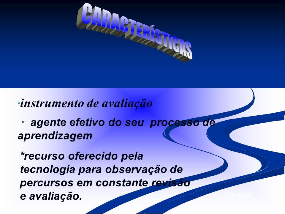 * instrumento de avaliação * agente efetivo do seu processo de aprendizagem *recurso oferecido pela tecnologia para observação de percursos em constan