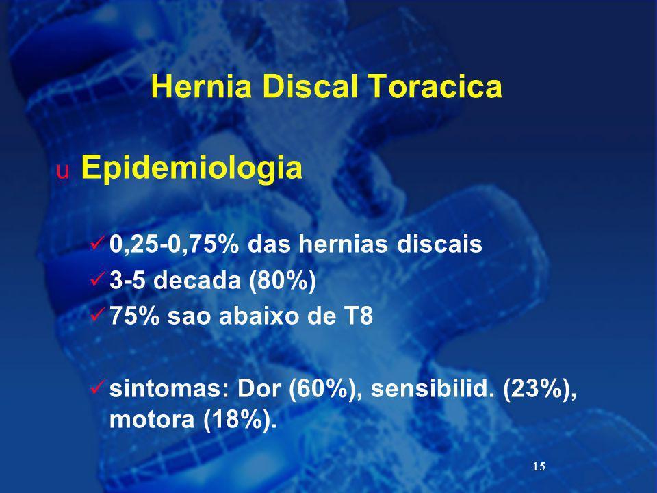 15 Hernia Discal Toracica u Epidemiologia 0,25-0,75% das hernias discais 3-5 decada (80%) 75% sao abaixo de T8 sintomas: Dor (60%), sensibilid. (23%),