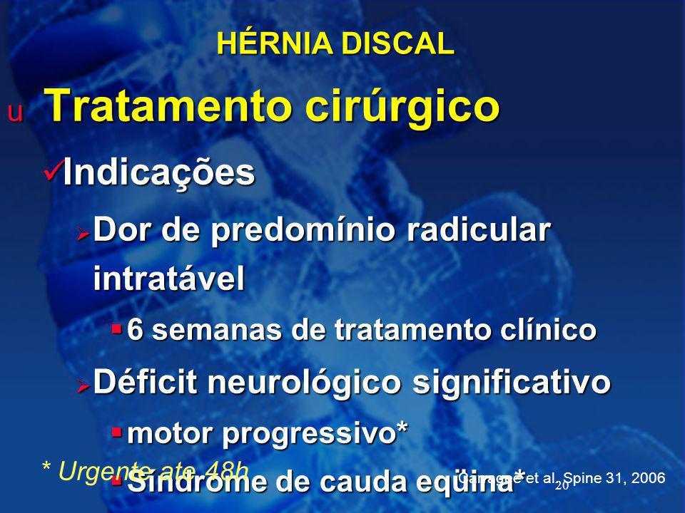 20 HÉRNIA DISCAL u Tratamento cirúrgico Indicações Indicações  Dor de predomínio radicular intratável  6 semanas de tratamento clínico  Déficit neu
