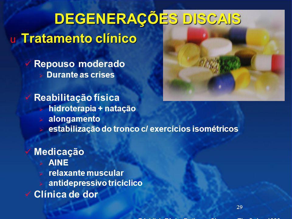 29 DEGENERAÇÕES DISCAIS u Tratamento clínico Repouso moderado  Durante as crises Reabilitação física  hidroterapia + natação  alongamento  estabil