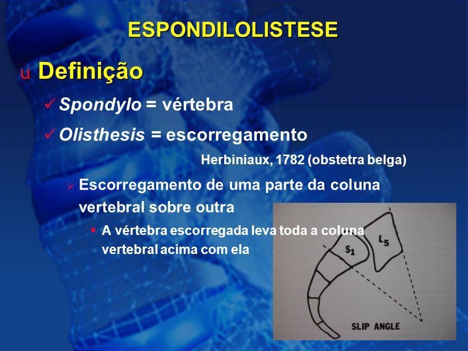 37ESPONDILOLISTESE u Definição Spondylo = vértebra Olisthesis = escorregamento Herbiniaux, 1782 (obstetra belga)  Escorregamento de uma parte da colu
