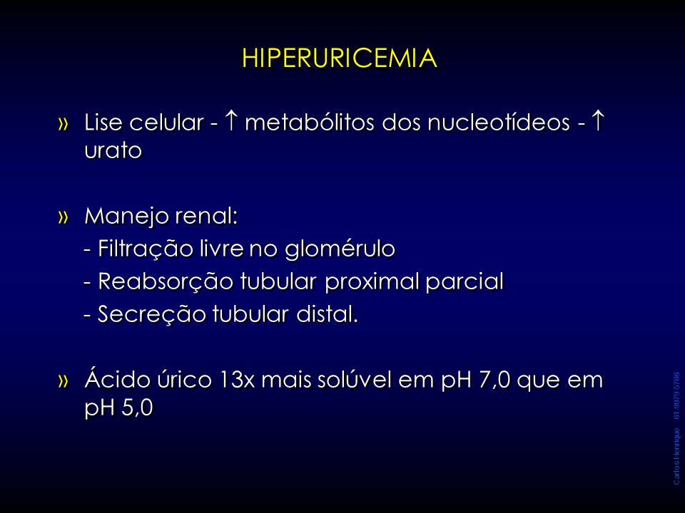 Carlos Henrique 61 9979 5786 » »Lise celular -  metabólitos dos nucleotídeos -  urato » »Manejo renal: - Filtração livre no glomérulo - Reabsorção t