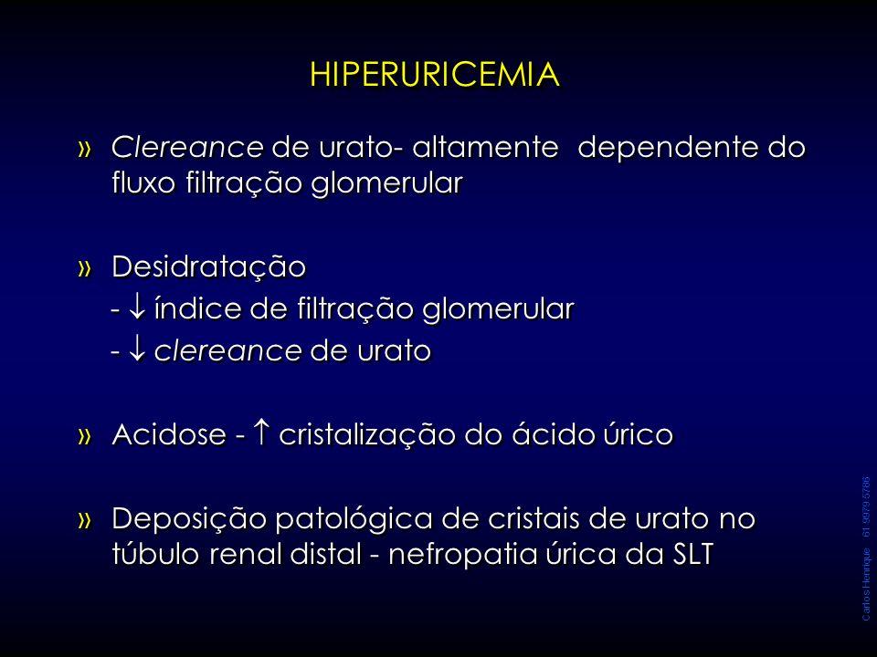 Carlos Henrique 61 9979 5786 HIPERURICEMIAHIPERURICEMIA » »Clereance de urato- altamente dependente do fluxo filtração glomerular » »Desidratação - 