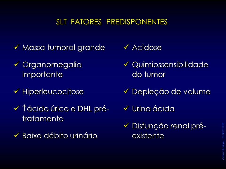 SLT FATORES PREDISPONENTES Massa tumoral grande Organomegalia importante Hiperleucocitose  ácido úrico e DHL pré- tratamento Baixo débito urinário Ma