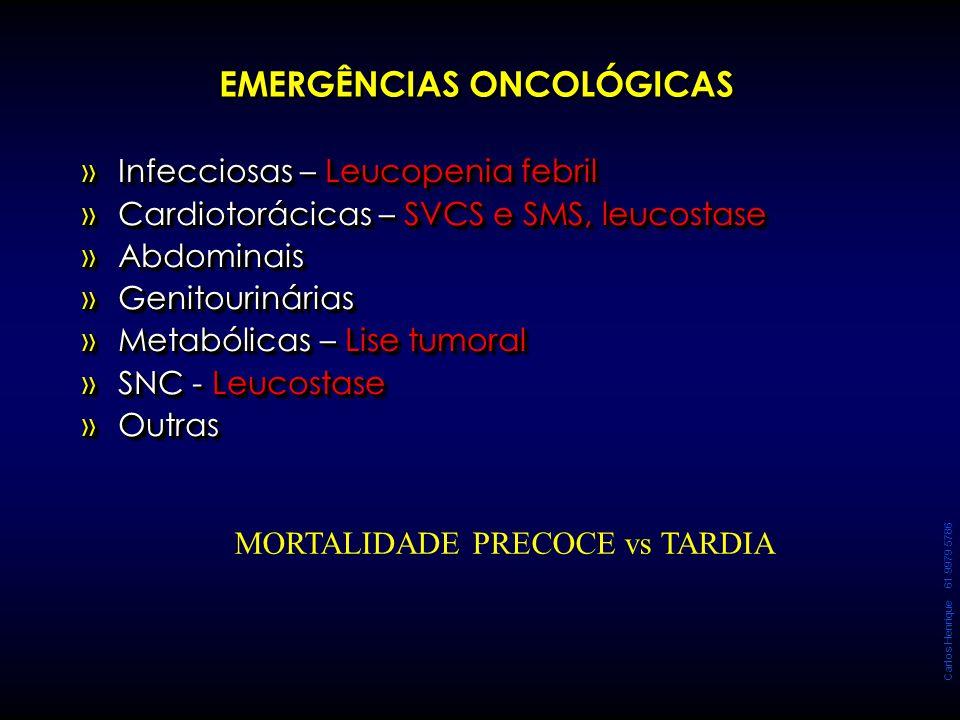 Carlos Henrique 61 9979 5786 EMERGÊNCIAS ONCOLÓGICAS »Infecciosas – Leucopenia febril »Cardiotorácicas – SVCS e SMS, leucostase »Abdominais »Genitouri