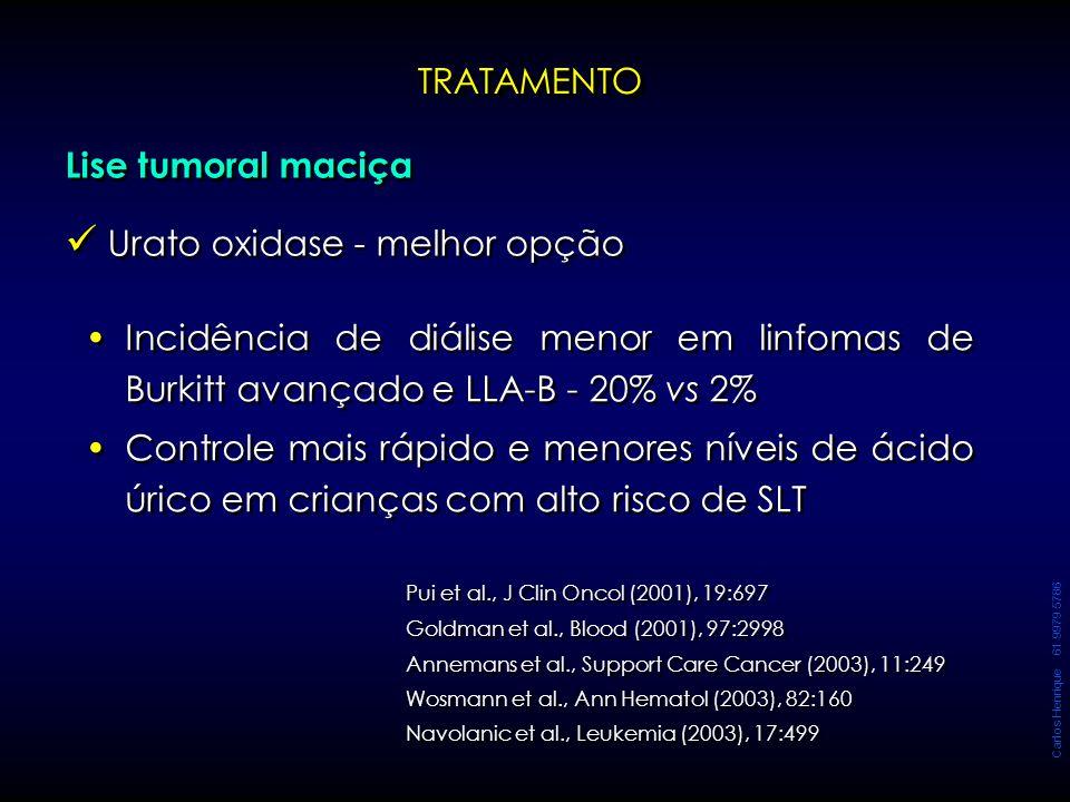 Carlos Henrique 61 9979 5786 TRATAMENTOTRATAMENTO Incidência de diálise menor em linfomas de Burkitt avançado e LLA-B - 20% vs 2% Controle mais rápido