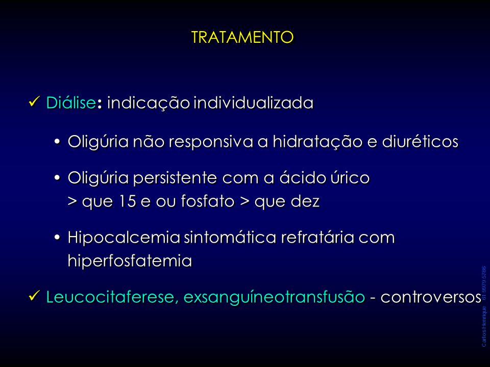 Carlos Henrique 61 9979 5786 Diálise : indicação individualizada Oligúria não responsiva a hidratação e diuréticos Oligúria persistente com a ácido úr