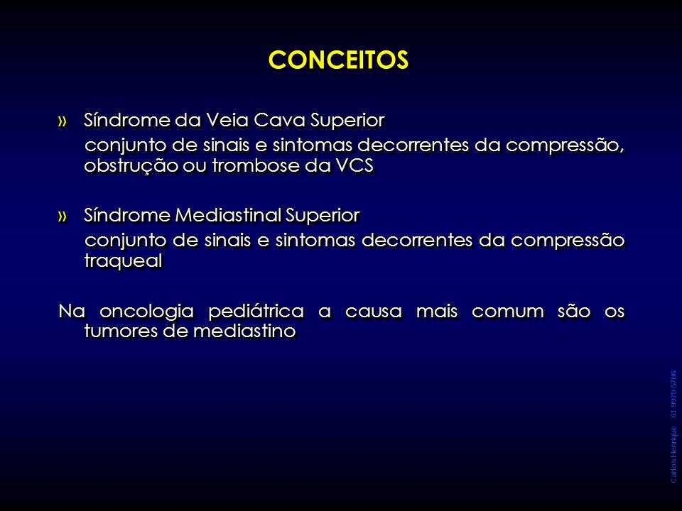 Carlos Henrique 61 9979 5786 CONCEITOS »Síndrome da Veia Cava Superior conjunto de sinais e sintomas decorrentes da compressão, obstrução ou trombose