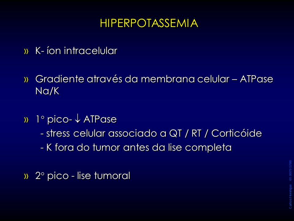 Carlos Henrique 61 9979 5786 HIPERPOTASSEMIAHIPERPOTASSEMIA » »K- íon intracelular » »Gradiente através da membrana celular – ATPase Na/K » »1  pico-