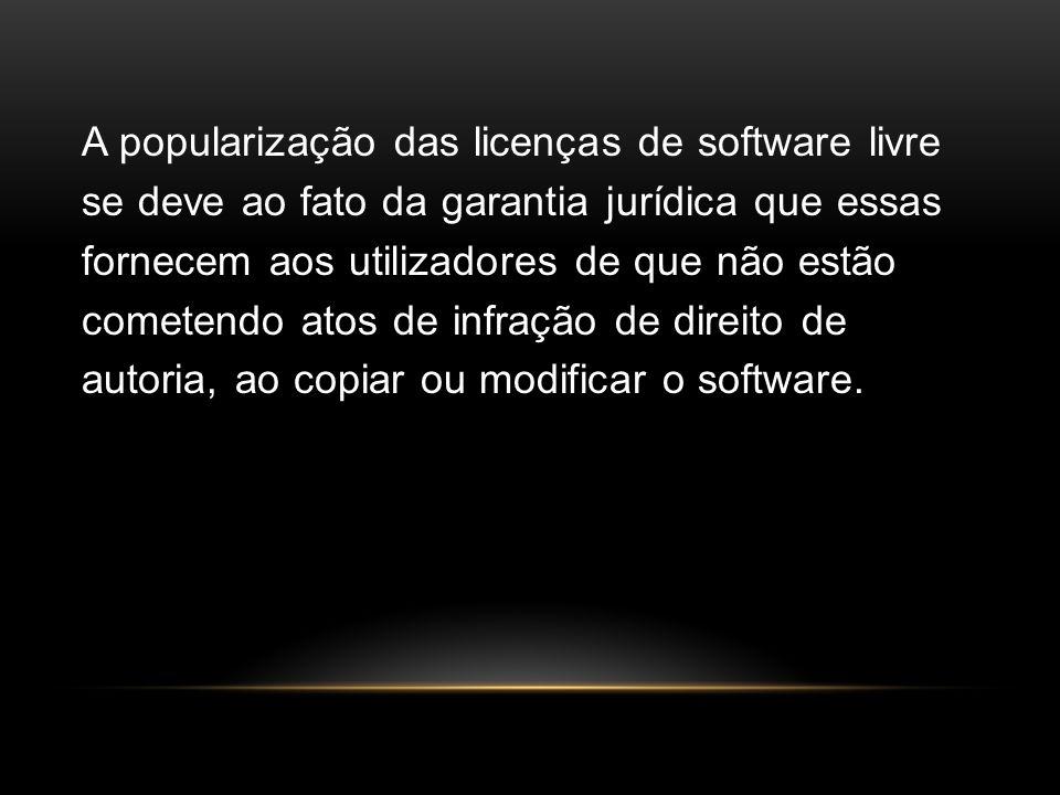 A popularização das licenças de software livre se deve ao fato da garantia jurídica que essas fornecem aos utilizadores de que não estão cometendo ato