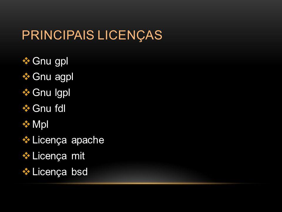 PRINCIPAIS LICENÇAS  Gnu gpl  Gnu agpl  Gnu lgpl  Gnu fdl  Mpl  Licença apache  Licença mit  Licença bsd