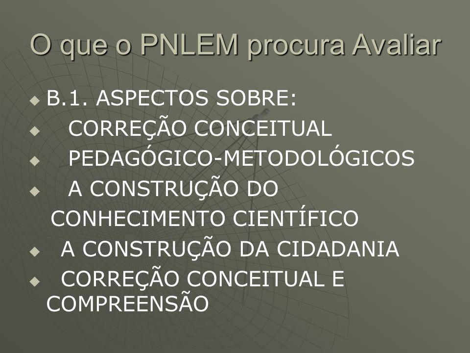 O que o PNLEM procura Avaliar   B.1. ASPECTOS SOBRE:   CORREÇÃO CONCEITUAL   PEDAGÓGICO-METODOLÓGICOS   A CONSTRUÇÃO DO CONHECIMENTO CIENTÍFIC