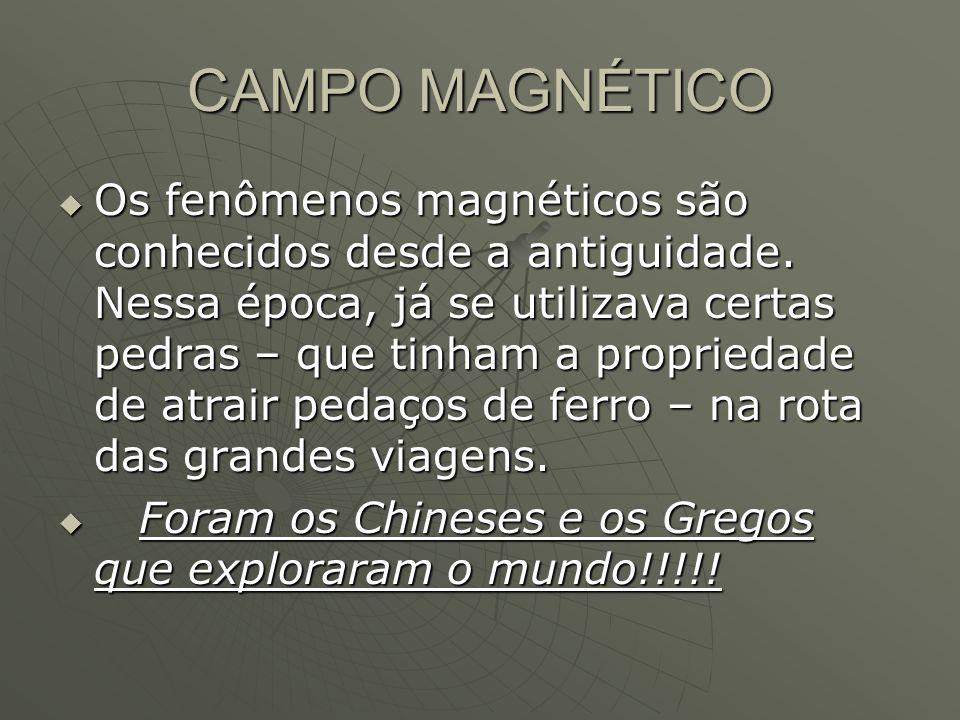 CAMPO MAGNÉTICO  Os fenômenos magnéticos são conhecidos desde a antiguidade. Nessa época, já se utilizava certas pedras – que tinham a propriedade de