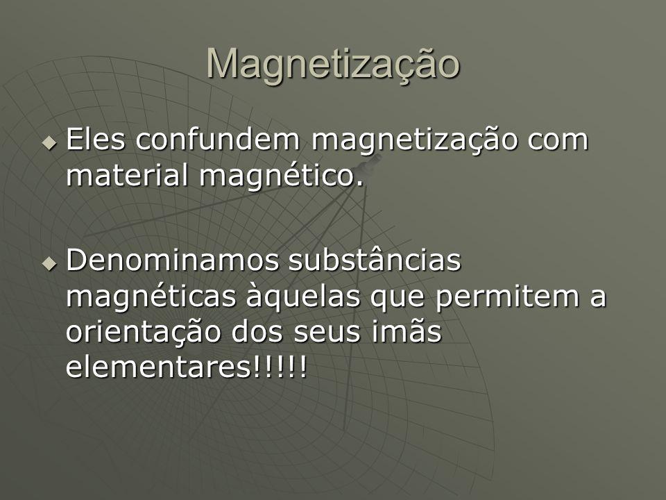 Magnetização  Eles confundem magnetização com material magnético.  Denominamos substâncias magnéticas àquelas que permitem a orientação dos seus imã