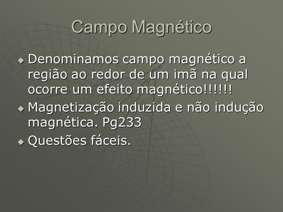 Campo Magnético  Denominamos campo magnético a região ao redor de um imã na qual ocorre um efeito magnético!!!!!!  Magnetização induzida e não induç