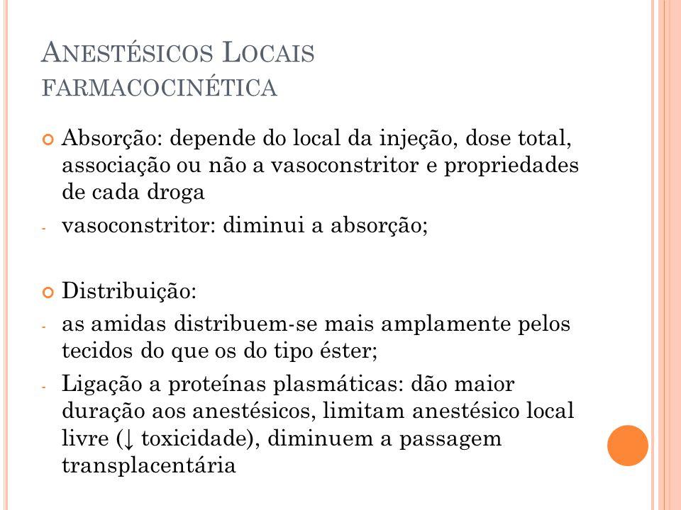 A NESTÉSICOS L OCAIS FARMACOCINÉTICA Distribuição: - Volume de distribuição (VD): quanto > VD  > lipossolubilidade (então são mais solúveis no cérebro, fígado, gorduras) Biotransformação: principalmente hepática - Os ésteres também são metabolizadas no plasma, por esterases plasmáticas - Halotano e propanolol diminuem a depuração dos anestésicos por inibição direta da atividade de oxidases