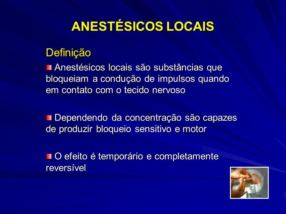 ANESTÉSICOS LOCAIS Definição Anestésicos locais são substâncias que bloqueiam a condução de impulsos quando em contato com o tecido nervoso Anestésicos locais são substâncias que bloqueiam a condução de impulsos quando em contato com o tecido nervoso Dependendo da concentração são capazes de produzir bloqueio sensitivo e motor Dependendo da concentração são capazes de produzir bloqueio sensitivo e motor O efeito é temporário e completamente reversível O efeito é temporário e completamente reversível