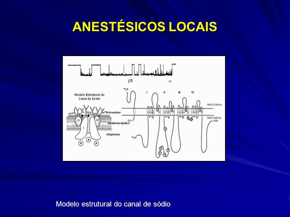 ANESTÉSICOS LOCAIS Modelo estrutural do canal de sódio